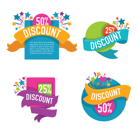 Illustration pour Collection of bright discount tags, banners and stickers - image libre de droit