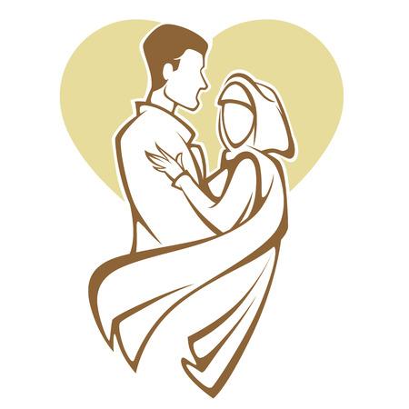 Ilustración de muslim wedding, bride and groom, romantic couple in elegant style - Imagen libre de derechos