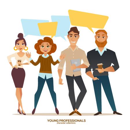 Illustration pour young professionals, people with speech bubbles, vector men and women - image libre de droit