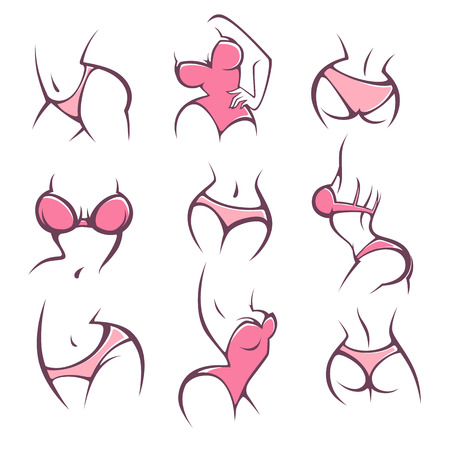 Illustration pour lengerie, underwear and intimate hygiene, vector lady poses collection for your logo - image libre de droit