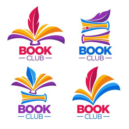 Photo pour Book club, library or shop, vector cartoon logo template - image libre de droit
