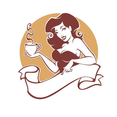 Illustration pour Beauty pinup woman with cup of tea or coffee, logo for restaurant, cafe or tea company - image libre de droit