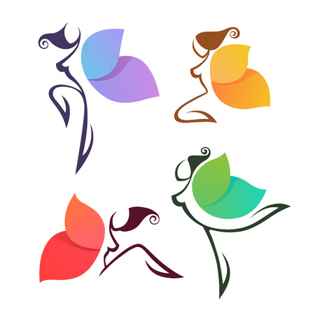 Ilustración de beautiful abstract lgirls, look like a colorful butterfly, for your logo, labels or emblems - Imagen libre de derechos