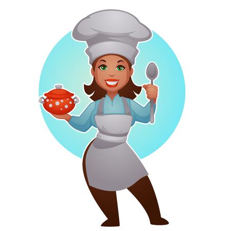 Ilustración de Cartoon woman chef, vector professional lady for your mascot - Imagen libre de derechos