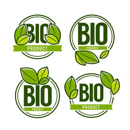 Ilustración de Bio Product, doodle organic leaves emblems, stickers,  frames and logo - Imagen libre de derechos