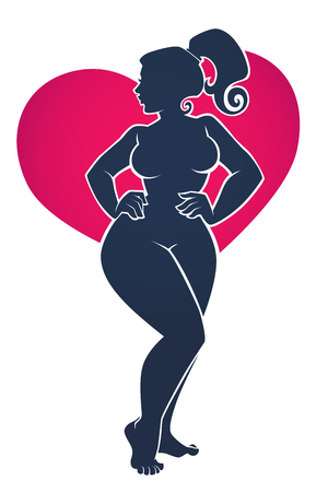 Illustration pour I love my Body, body positive illustration with beautiful woman silhouette on bright heart shape background - image libre de droit