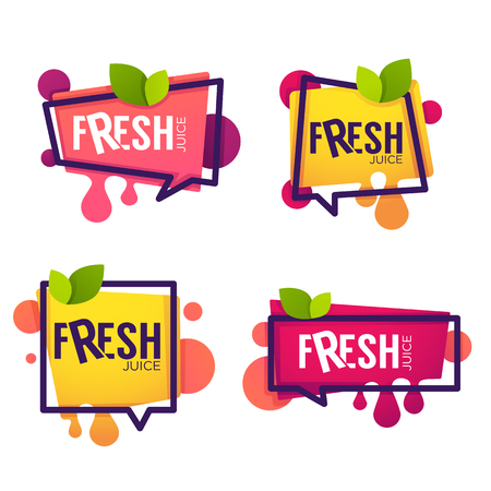 Photo pour Vector collection of bright and shine stickers, emblems and banners for berry and orange fresh juice - image libre de droit