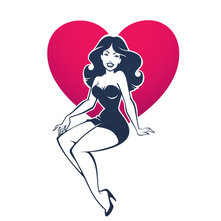 Illustration pour sexy and beauty retro pinup lady on heart shape background for your logo or label design - image libre de droit