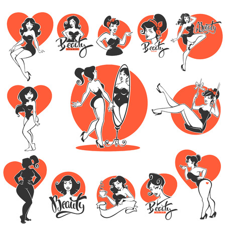 Ilustración de beauty and sexy, large collection of pinup girls and lettering compositions - Imagen libre de derechos