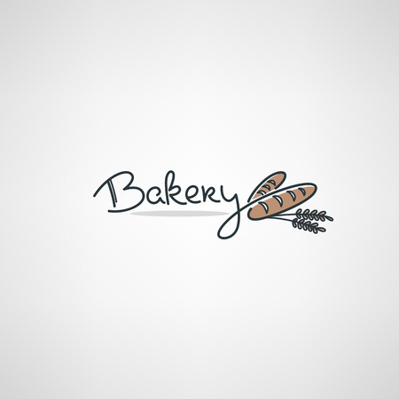 Illustration for Bakery Logo design template with doodle bread images and lettering composition - Royalty Free Image