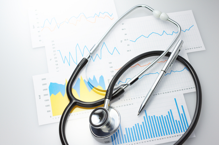 Foto de Results of a medical and stethoscope  Checking daily health conditions  - Imagen libre de derechos