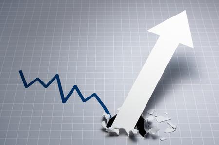 Photo pour Dynamic growth chart.?Upward arrow breaking through the graph. Gray line chart and white large arrow. - image libre de droit
