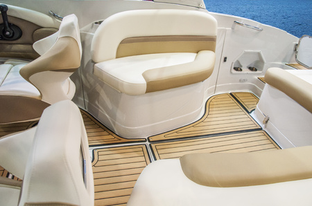 Photo for Closeup of cockpit of luxury yacht. Cockpit of luxury seagoing boat. interior from wood and leather. - Royalty Free Image