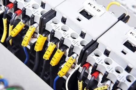 Foto de New control panel with  electrical equipment. Automatic electricity switchers - Imagen libre de derechos