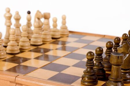Chess game ready for start, focus on the black pawn