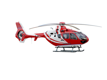 Foto de Red helicopter on white background, isolated object - Imagen libre de derechos
