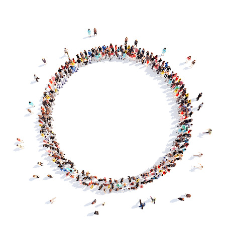 Foto de A large group of people in a circle of interest. Isolated, white background. - Imagen libre de derechos