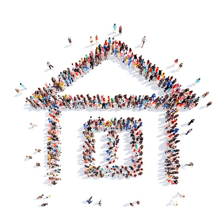 Photo for A large group of people in the shape of a house. White background. - Royalty Free Image