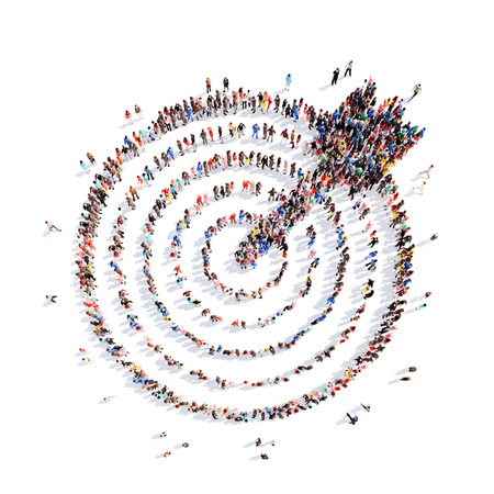 Foto de A large group of people in the shape of a target with an arrow, aim. Isolated, white background. - Imagen libre de derechos