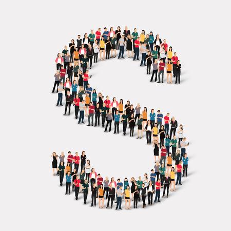 Photo pour Large group of people in letter form. Vector illustration. - image libre de droit