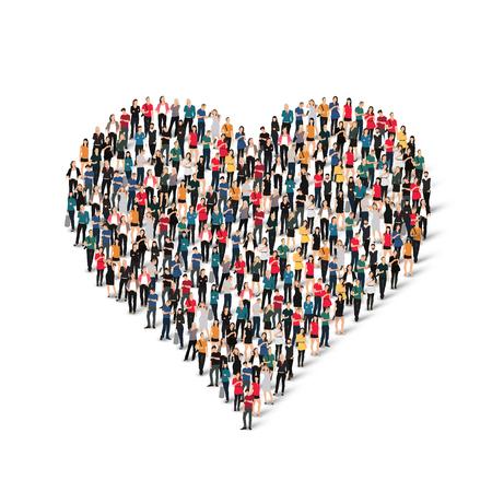 Ilustración de A large group of people in the form of heart , love . Vector illustration. - Imagen libre de derechos