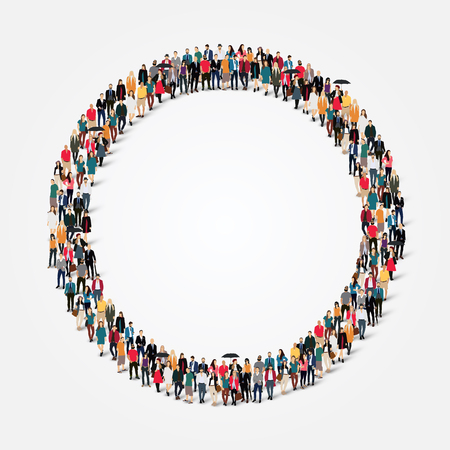 Illustrazione per Large group of people in the shape of  circle . - Immagini Royalty Free
