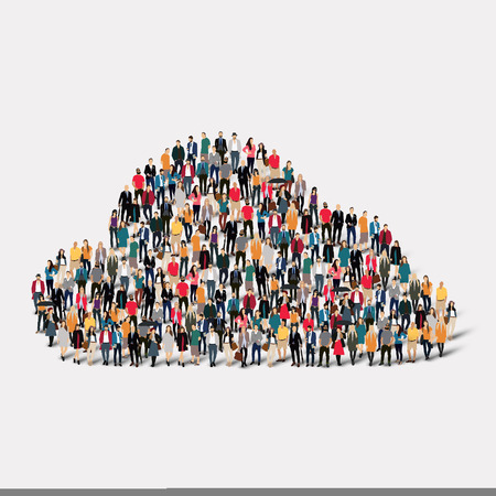 A large group of people in the form of clouds, weather. Vector illustration