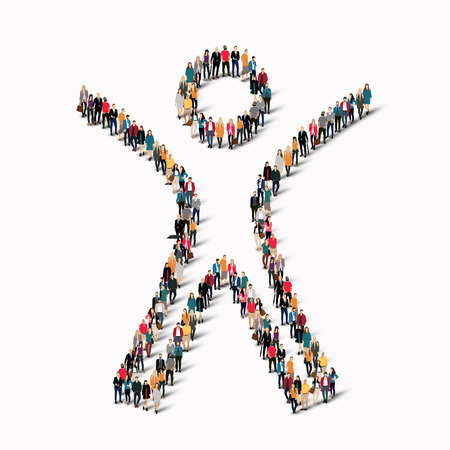 Ilustración de Large group of people in the shape of man. Vector illustration. - Imagen libre de derechos