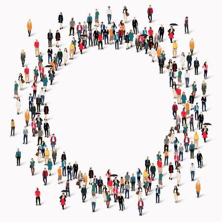 Ilustración de Large group of people in the shape of  circle . Vector illustration. - Imagen libre de derechos