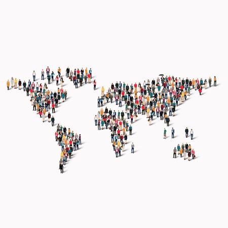 Ilustración de A large group of people in the shape of a world map. Vector illustration - Imagen libre de derechos