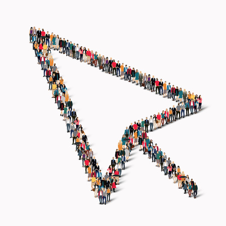 A large group of people in the shape of a sign of the cursor. Vector illustration.