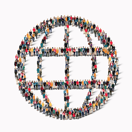 Illustration pour A large group of people in the shape of a globe. Vector illustration - image libre de droit