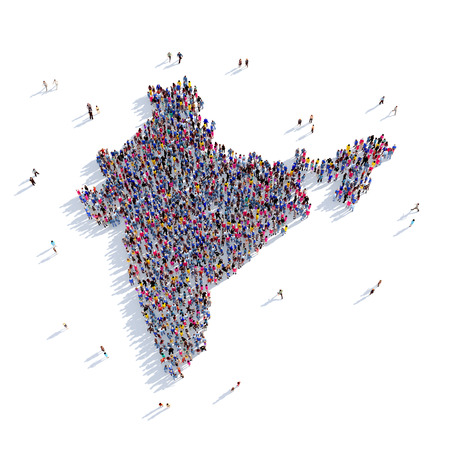 Foto de Large and creative group of people gathered together in the form of a map India, a map of the world. 3D illustration, isolated against a white background. 3D-rendering. - Imagen libre de derechos