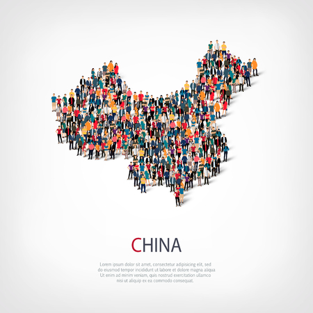 Illustration pour Isometric set of styles, people, map of china , country, web infographics concept of crowded space, flat 3d. Crowd point group forming a predetermined shape. Creative people. Vector illustration. Photo vector.3D illustration. White background . Isolated. - image libre de droit