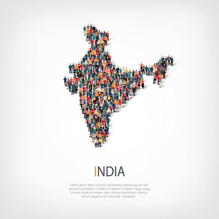 Illustration pour Isometric set of styles, people, map of India , country, web infographics concept of crowded space, flat 3d. Crowd point group forming a predetermined shape. Creative people. Vector illustration. Photo vector.3D illustration. White background . Isolated. - image libre de droit