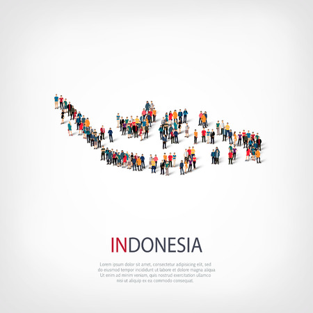 Illustration pour Isometric set of styles, people, map of Indonesia, country, web infographics concept of crowded space, flat 3d. Crowd point group forming a predetermined shape. Creative people. Vector illustration. Photo vector.3D illustration. White background . Isolate - image libre de droit
