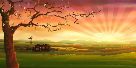 Illustration pour Countryside panorama (other landscapes are in my gallery) - image libre de droit
