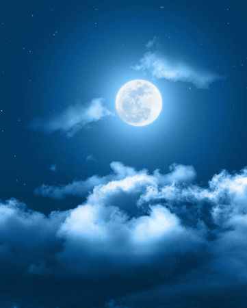 Photo for Mystical Night sky background with full moon, clouds and stars. Moonlight night with copy space for winter background. - Royalty Free Image