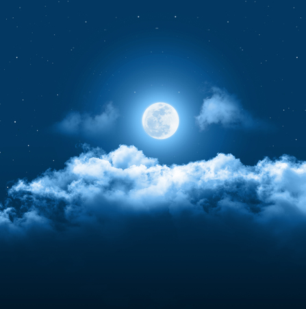 Photo pour Mystical Night sky background with full moon, clouds and stars. Moonlight night with copy space for winter background. - image libre de droit