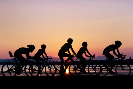 Foto de People cycling at beach on twilight time in Thailand Asia - Imagen libre de derechos