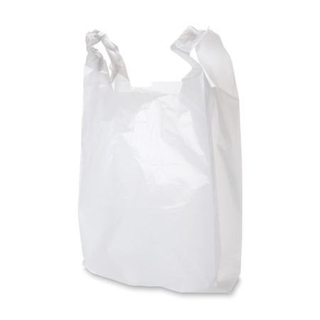 Foto de Empty white plastic bag on white background. Clipping path included. - Imagen libre de derechos