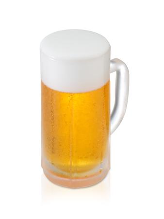 Foto de Glass of Fresh Beer with Foam and Bubbles on white background - Imagen libre de derechos