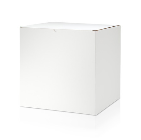 Foto de Blank white cardboard box on white background - Imagen libre de derechos
