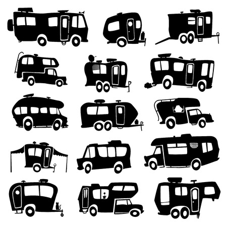Illustration pour Recreational Vehicles Icons - image libre de droit