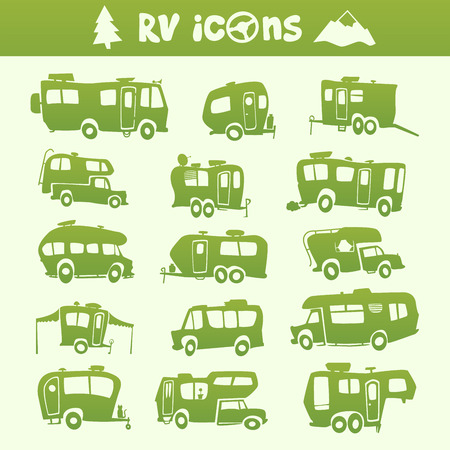 Illustration pour Vector green recreational vehicle shape cartoon set - image libre de droit