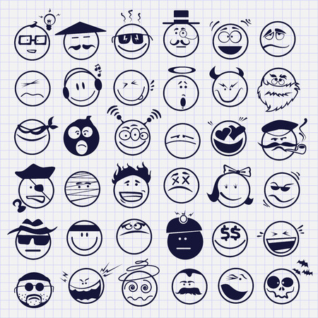 Illustrazione per set of emoticons - Immagini Royalty Free