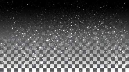 Falling snow on a transparent background. Vector special effects on a transparent background