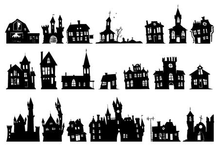 Ilustración de halloween haunted house church and other buildings isolated on white background - Imagen libre de derechos