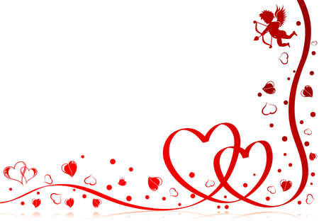 Valentines day theme with heart, ribbon and Cupid, element for design,   illustration