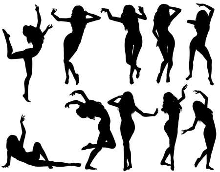 Big collect silhouettes dancing women, vector illustration, element for design